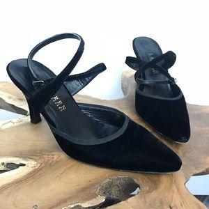 Lauren Ralph Lauren Black Velvet Strappy Heels